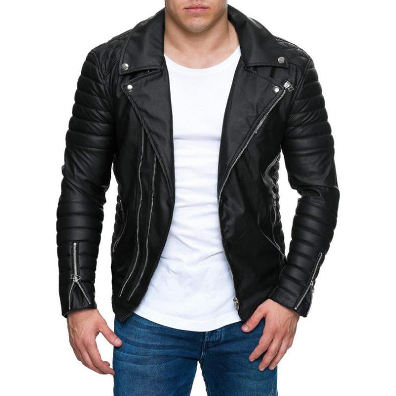 Chaqueta de cuero masculina Nueva informal Cremalleras de la motocicleta chaqueta de cuero de los hombres del punk Outwear Chaqueta hermosa del motorista Negro Hombres M-3XL T200907