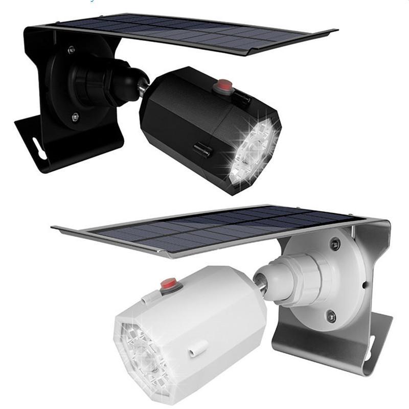cgjxs 5W Solar-LED-Bewegungs-Sensor-Licht-Wand-Lampen mit gefälschter Überwachungskamera im Freien Solar-Funk-Wasser Sicherheits-Leuchten
