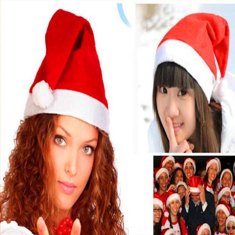 Basit düzenli kırmızı Süsleme dokunmamış süslemeleri top malzemeleri Basit düzenli kırmızı hatOrnament şapka dokunmamış Noel şapka Noel decorat