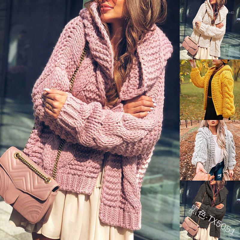 Cardigan Sólidos Designer Cor Tops Casual lã solta Casacos Ladies roupa grossa com capuz Womens blusas de inverno