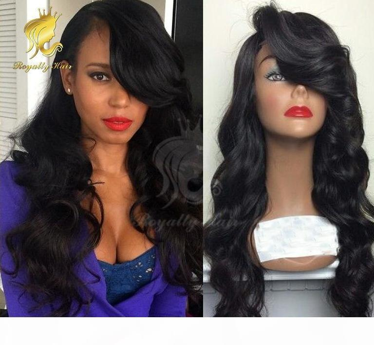 High quality Peruvian130 density wavy glueless lace front human hair wig & full lace wig with side bangs with blenched knots