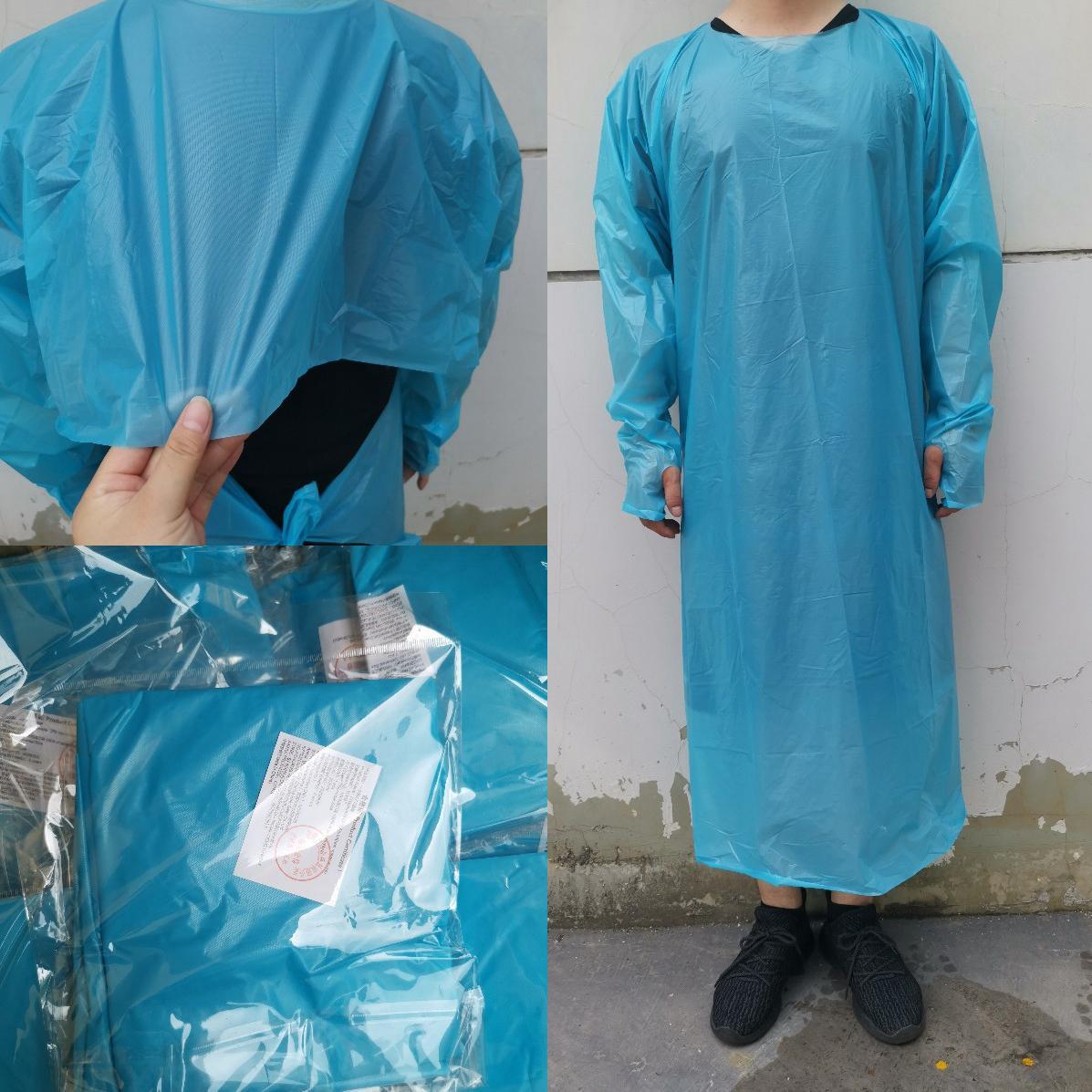 CPE Schutzkleidung Einweg-Isolation Kleider Kleidung Anzüge Elastische Manschetten Antistaub Schürze Außen Einweg Regenmäntel CYZ2755