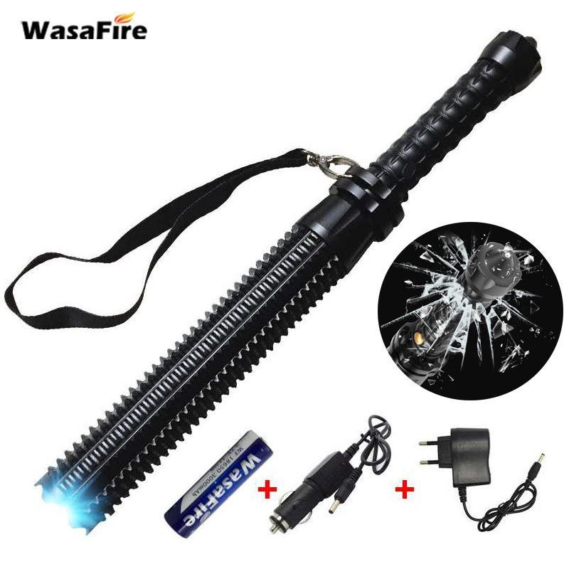 Sets Leistungsstarke Zoomable XML Q5 führte Taschenlampe Teleskop-Self Defense Stick-Tactical Baton nachladbare grelle helle Fackel 18650 Y200727