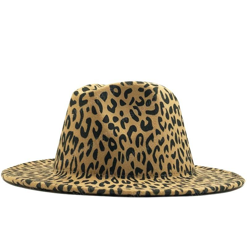 Fashion leopard Women Men Wool Fedora Hat Elegant Lady Winter Autumn Wide Brim Jazz Church Panama Sombrero Cap
