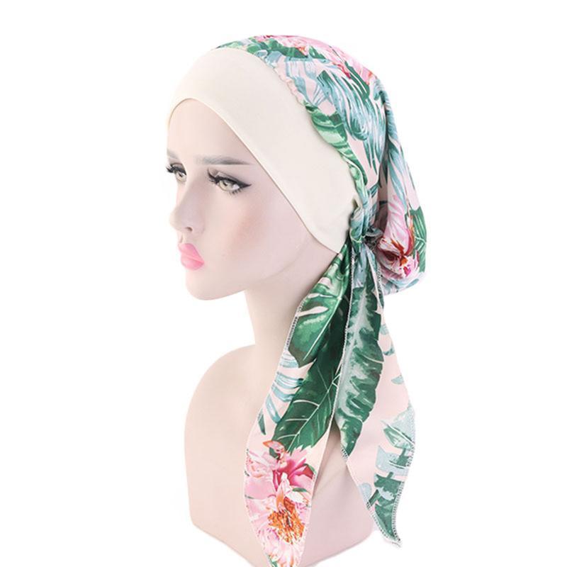 New Simulation Silk Turban Hat Women's Elastic Hair with Braid Hat Vintage Printing Pirate Adjustable