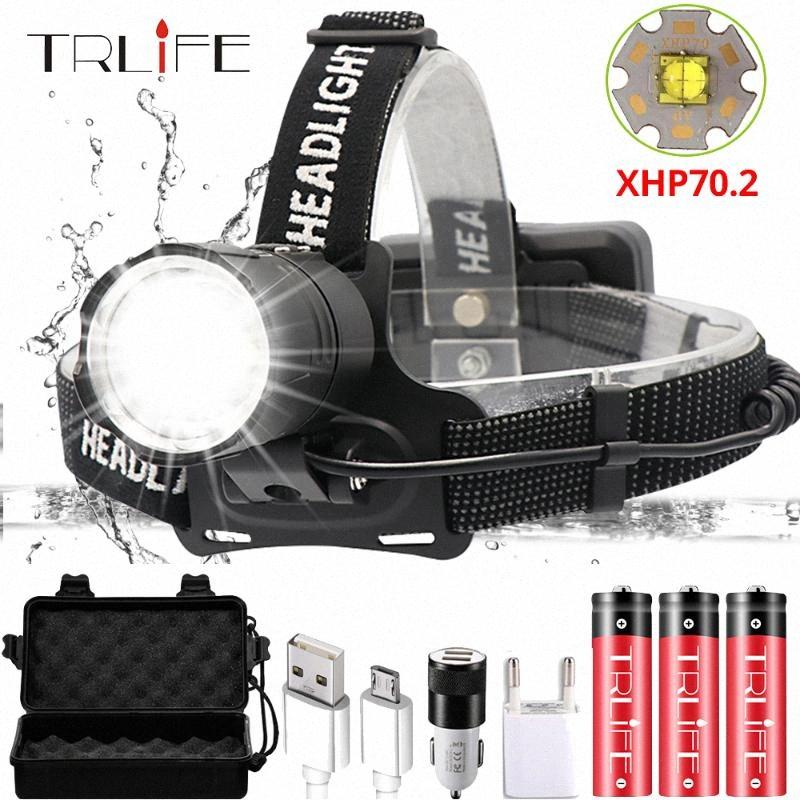 Super Bright XHP70.2 USB recarregável Led Farol XHP70 mais poderoso Farol Pesca Camping ZOOM tocha por 3 * 18650 Bateria Uz0s #