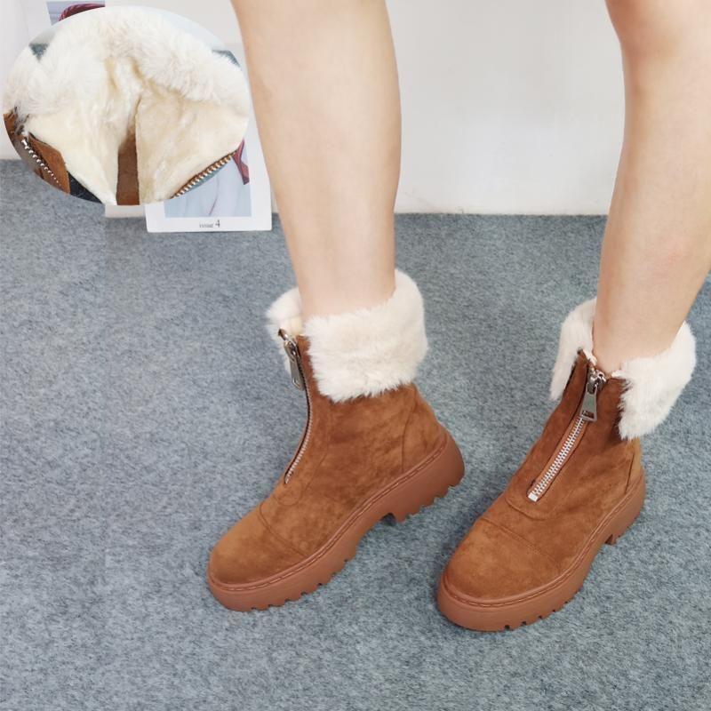 ANNYMOLI Gerçek Deri Platformu Kalın Yüksek Topuk Ayak bileği Boots Kış Kürk Kar Boots Kadın Ayakkabı İnek Süet Lady Kısa Kahverengi 40
