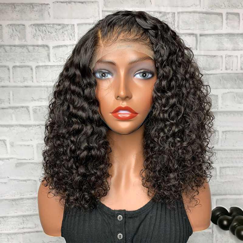 Parte Side 5 * 5 Silk Base de peruca com bebê Kinky cabelo encaracolado parte dianteira do laço do cabelo humano perucas Remy do brasileiro Natural Hairline Wig