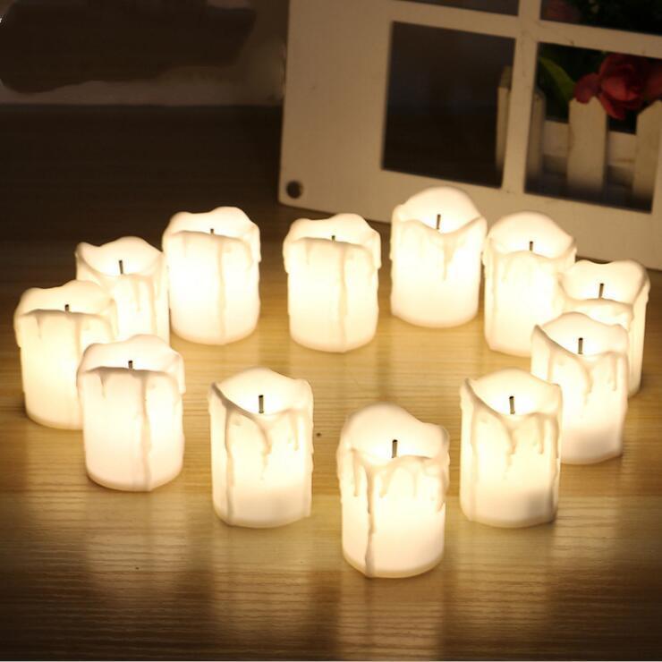 Хэллоуин светодиодные свечи от батареи Электрические огни беспламенной Таймер свечи Чайные свечи Мерцание Tealight для свадебного дня рождения Lxl167