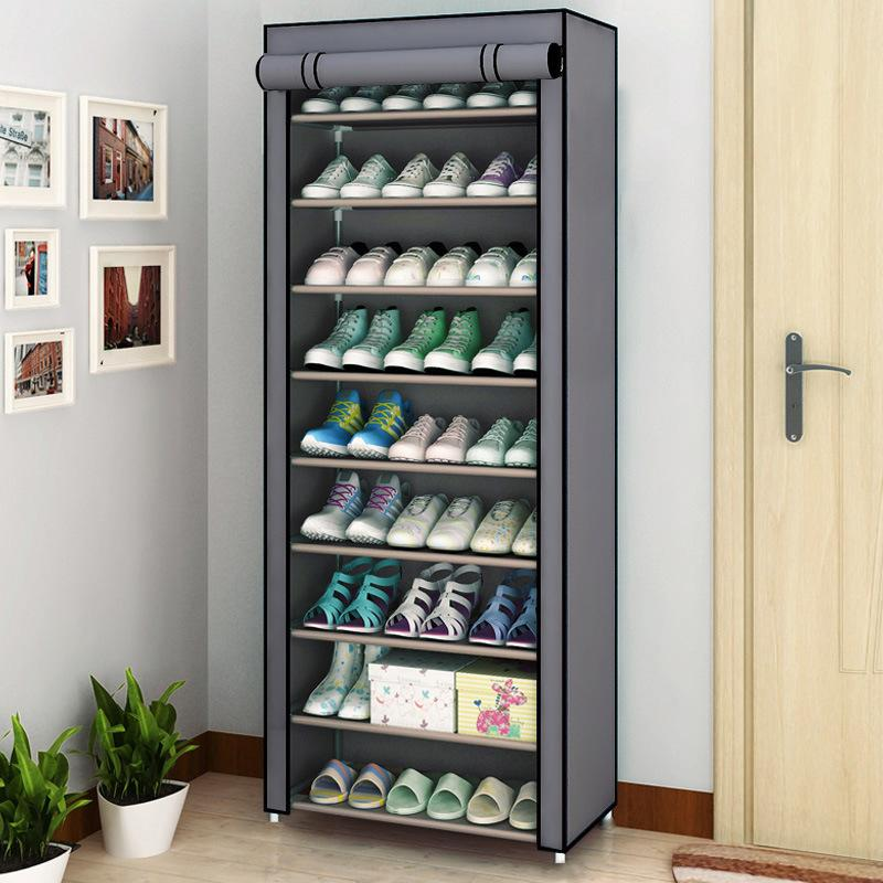 Multilayer Shoe Rack Detachable Dustproof Nonwoven Fabric Shoe Cabinet Home Standing Space-saving Stand Holder Shoes Organizer Y200527