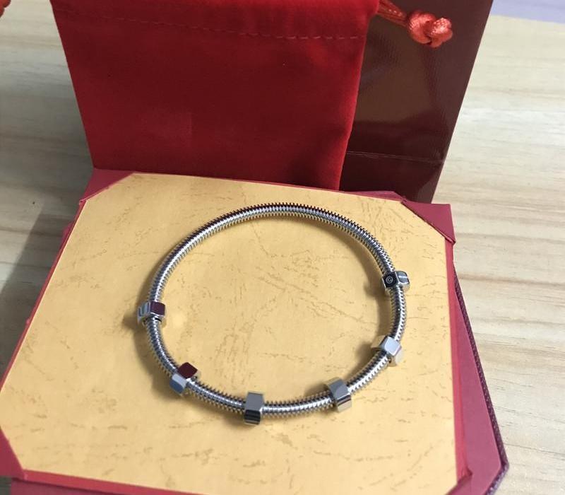 Top des bijoux dernières dames en acier Bracelets de titane vis 6 aiment les hommes et les femmes Bangle Bracelet de fil de couple avec box55 original