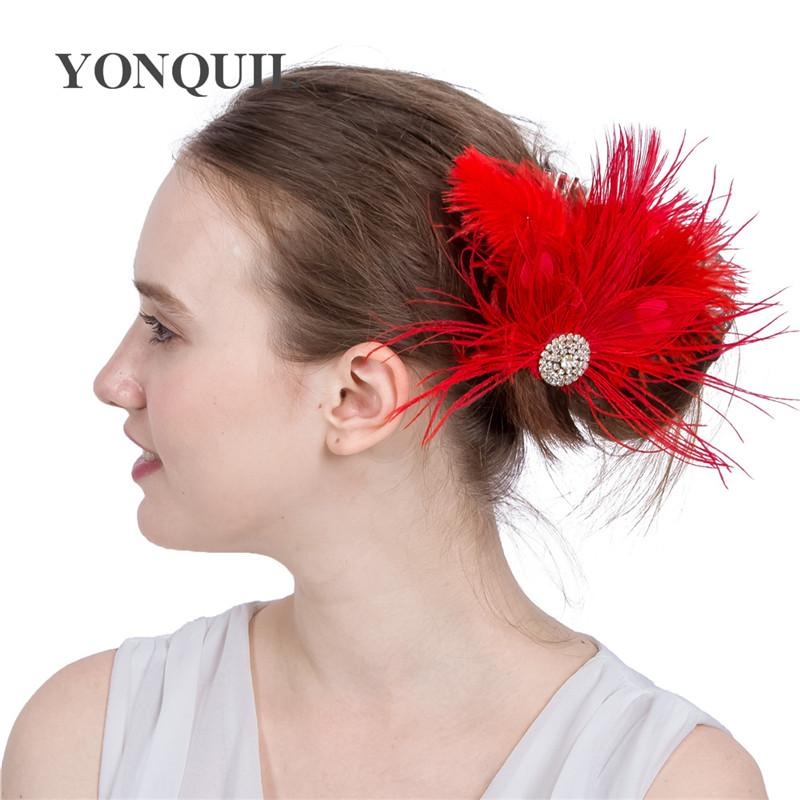 Fashion red Feather hair clips Headbands for Girls women cocktail Hair Accessories Indian Style occasion event cocktail Headwear SYF222