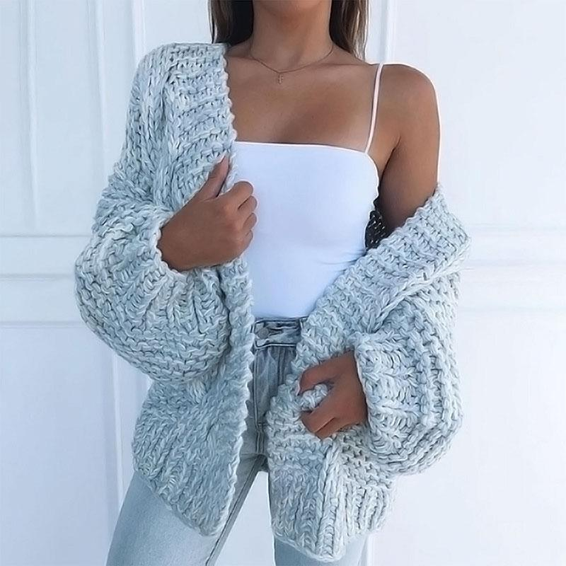 Women's Knits & Tees Bat Sleeve Knitted Cardigan Coat Women Vintage Solid Color Long Outerwear Autumn Casual Loose Warm Knitwear Plus Size 5