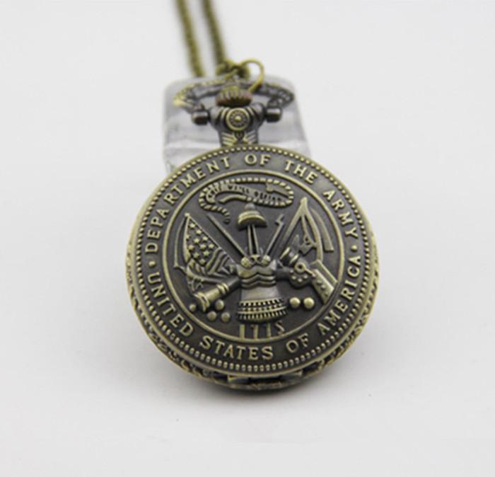 Antique Retro Bronze Hommes officiers américains armée américaine collier pendentif de USA Military Army Men Pocket Watch Pendentifs Bijoux