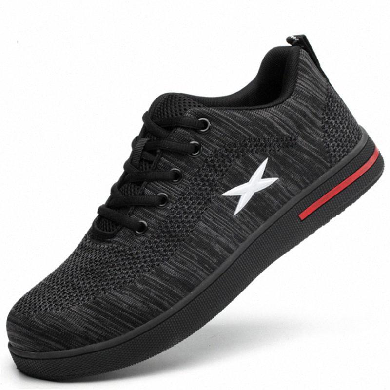 Sapatos Moda AIR Pano de malha de segurança Work For Men respirável antiderrapante resistente ao desgaste Plano de Segurança Botas Outdoor Homem Sneakers bdoj #