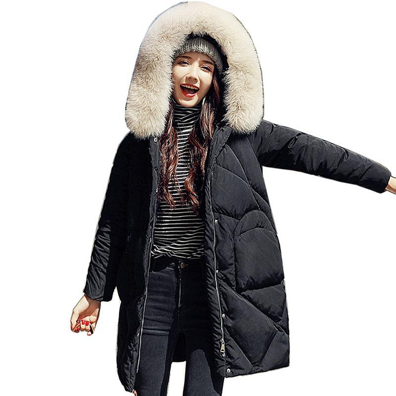Зимние меховой воротник вниз женщины курток длинных моды Шинель Новые женщины сгущают Разминку Верхней одежды Женского капюшон белой утки вниз пальто