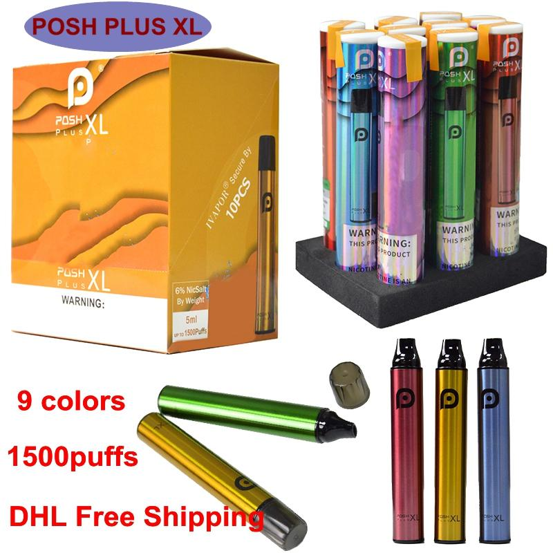 Newest POSH PLUS XL Disposable Vape Pen 1500Puffs Prefilled Pods Starter Kit 5ml Cartridges Xtra Bars Vaporizers eCigarettes Empty