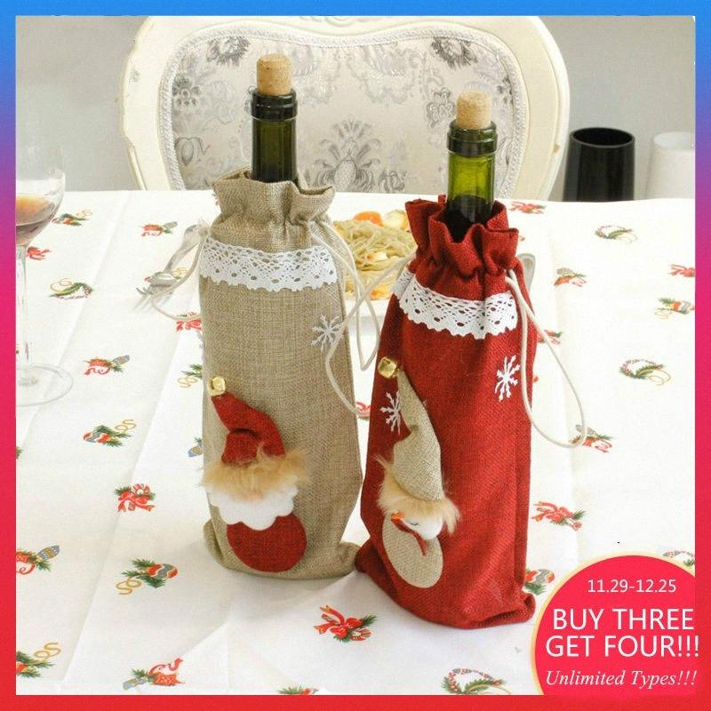 Linen Christmas Stocking Bottle Wine Beer Gift Ornament Holder For Friends 1yhf#