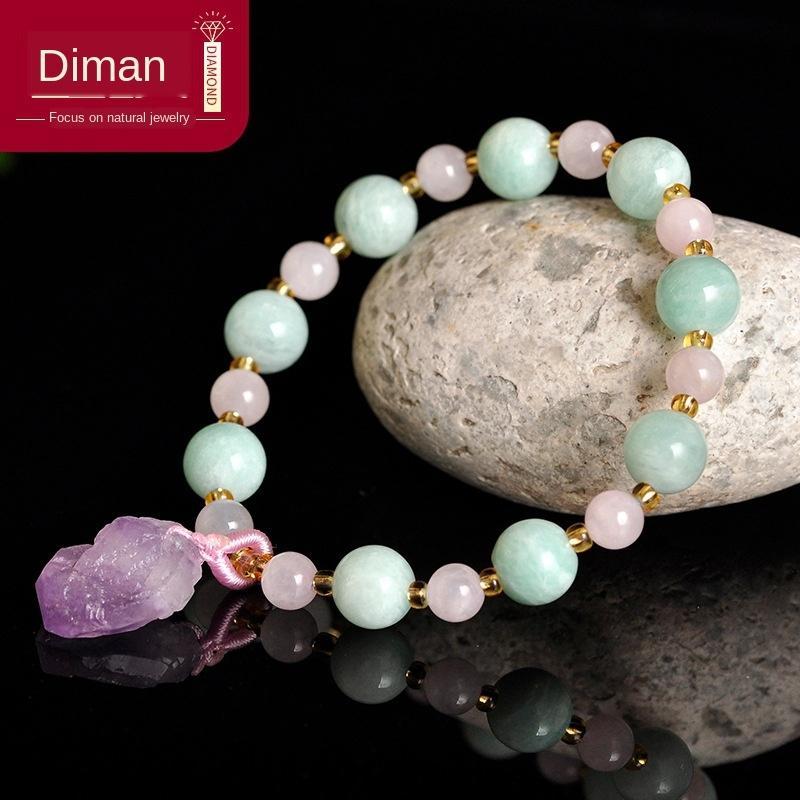 GwgLh ornamento de pedra natural Tianhe das mulheres rosa pingente de cristal de cristal DIY DIY pulseira de ametista pingente pulseira