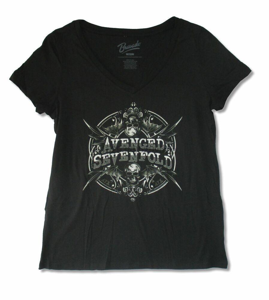 Avenged Sevenfold Mirrored Schwarz Damen Plus mit V-Ausschnitt T-Shirt New Official