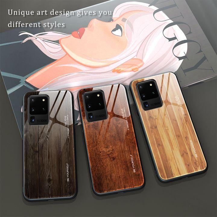 Vidro temperado Casos de grão de madeira para Samsung A21 A21s Nota 20 Pro A10 A81 A91 A51 A71 S20 Ultra A A20s Bling Protetora TPU Telefone Capa de Telefone Moda