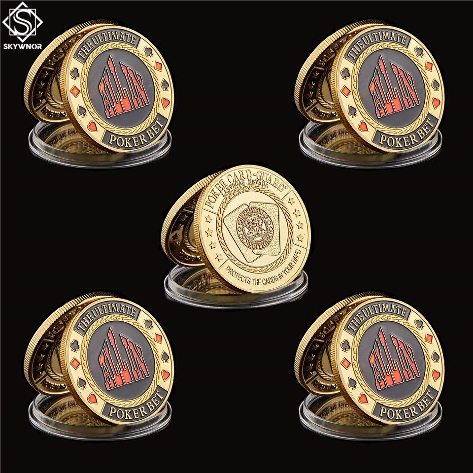 5pcs / lot Texas Hold'em Chips Métal Modèles Presse ALL Marques Poker Chip Garde jeton monnaie avec étui ronde Poker Metal Craft