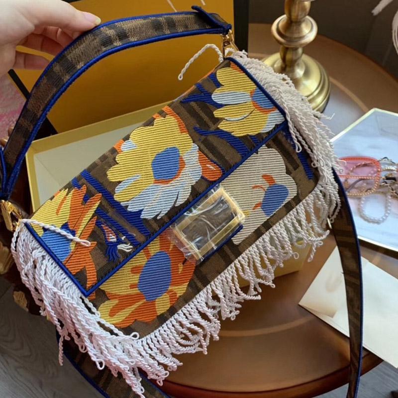 Flowers Retro Tassel 2020 Classic High Quality Fashion Crossbody Shoulder Messenger Bag Ladies Hand Bags Canvas Tote Bag