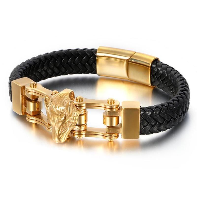 Del braccialetto del Wristband di cuoio stile punk Mens Colore Silver / Oro Colore inossidabile 316L del lupo braccialetto capo di fascino nero