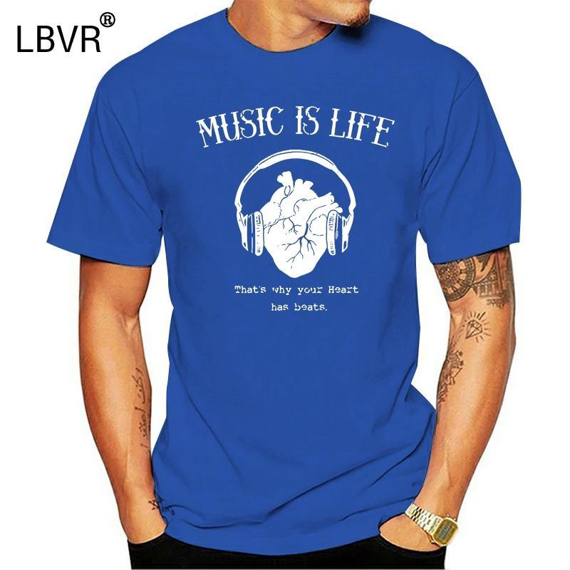 2020 Летняя майка клуб T-Shirt Men Techno Music Life Сердце Наушники DJ Dub House Party Gift O-образным вырезом футболки