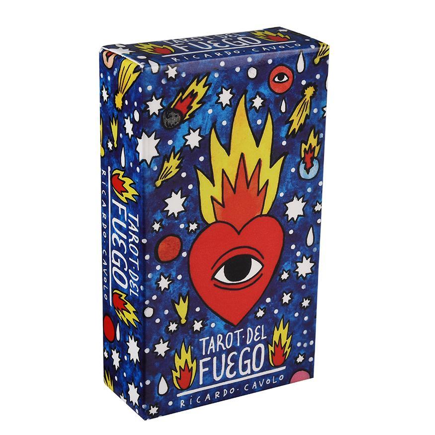 STOK Tarot Kartları Tarot Del Fuego Tarot Kartları ile gül yanaklı figürleri ve yangın her zaman her yerde gözler