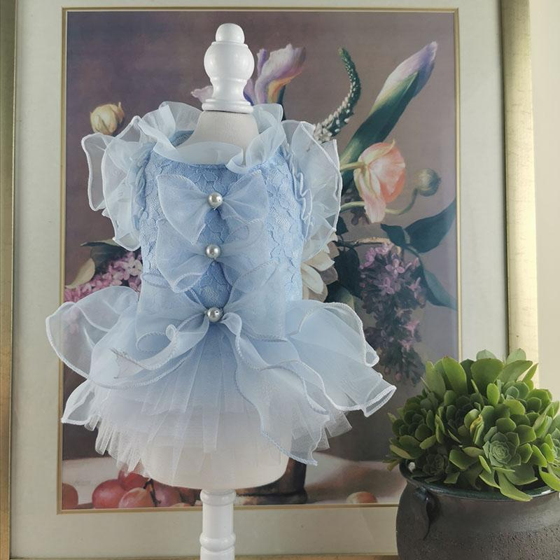 Free shipping handmade dog clothes dog dress lace pet Cocktail Dress cats tutu wedding party tutu poodle Maltese drop shipping