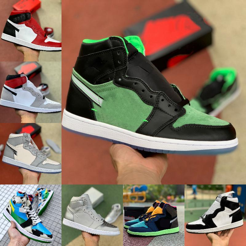 2021 WHITE x Nike Air Jordan 1 Chicago Basketball-Schuhe Off Männer Frauen Satin Snake Tie Dye MOCHA Chicago ZOOM ZEN GREEN Varsity Red New Love UNC Patent Trainer