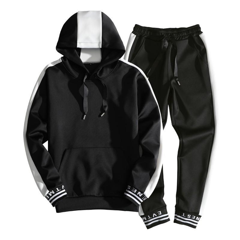 Treino Set Homens Sportswear Suit outono com capuz Inverno Suéter Ginásios Outfit Hoodies Sweatpants Masculino 2 Piece Set 200923