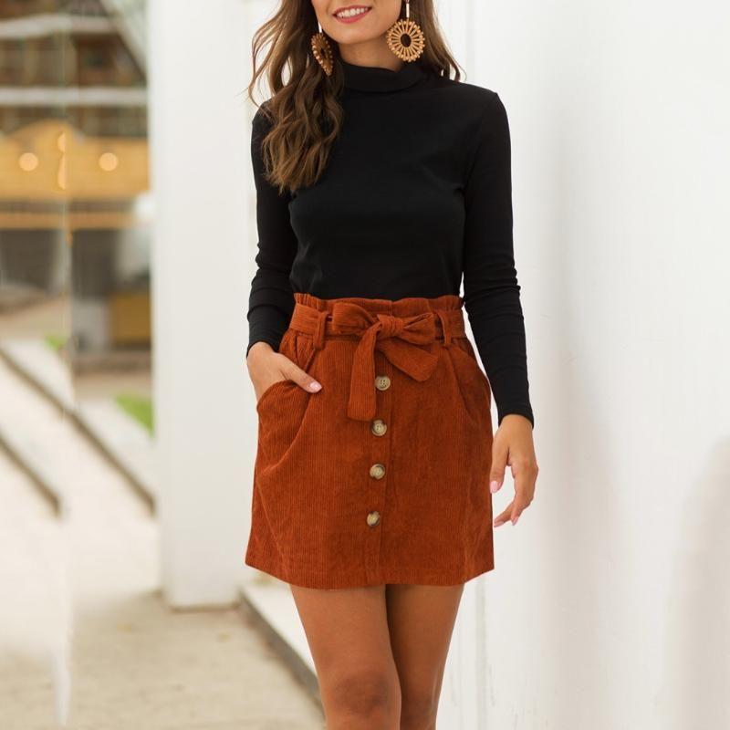 Women's Fashion Vintage Corduroy Skirt Hight Waist Pocket Button Bow Empire Skirt Elastic Short Mini Stunning