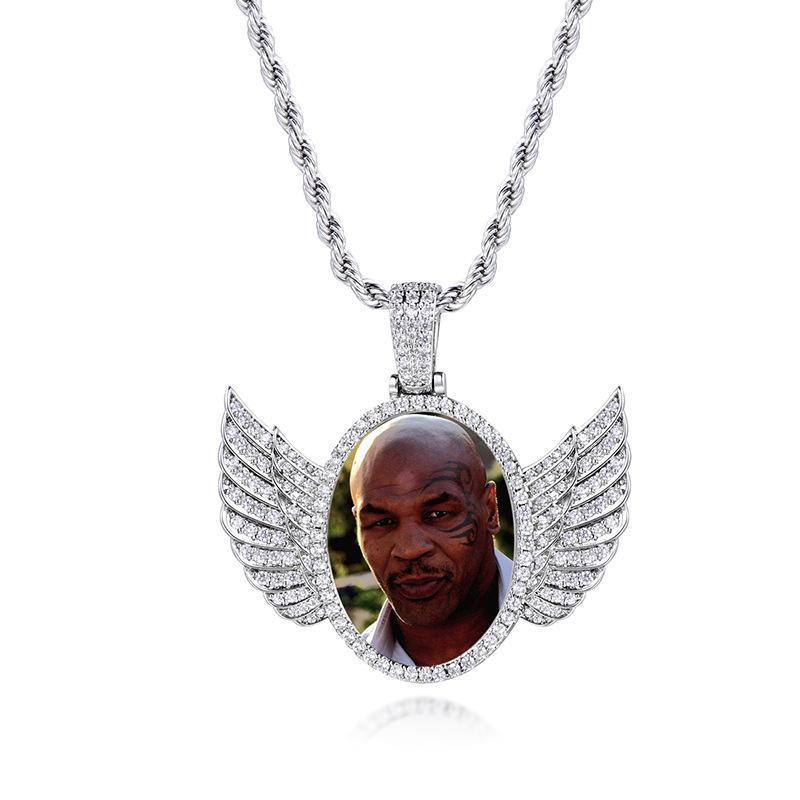 14K сшитого Фото Круглых медальонов ожерелье 3ммы теннис цепь Серебро Золото Цветого Циркон Мужчина Hiphop ювелирные изделия