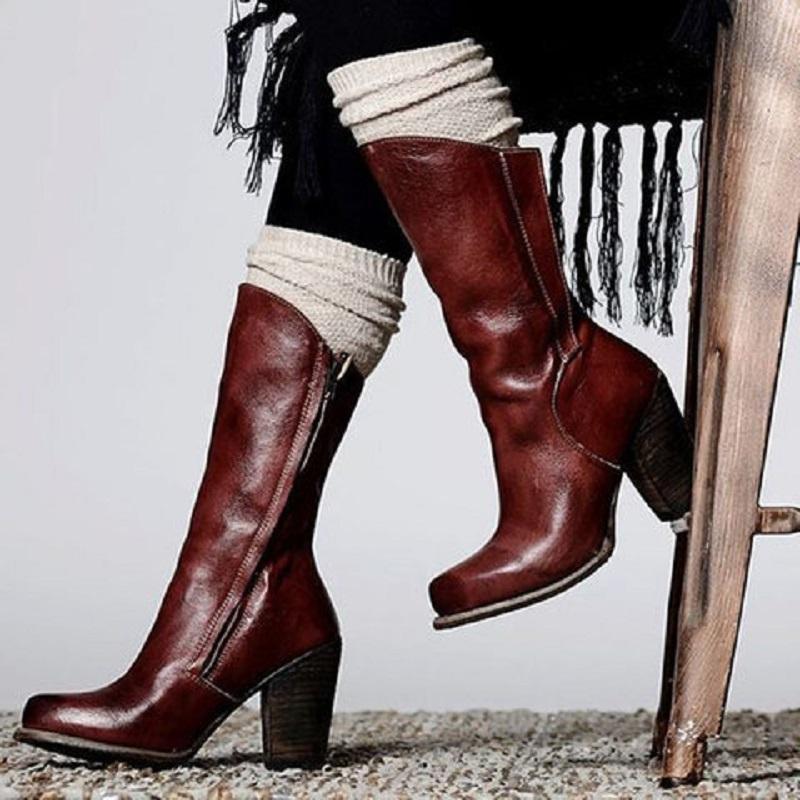 Осень зимние женщины из искусственной кожи середины теленок сапоги сексуальные высокие каблуки платформы женские ботинки ботас муджер панк езда