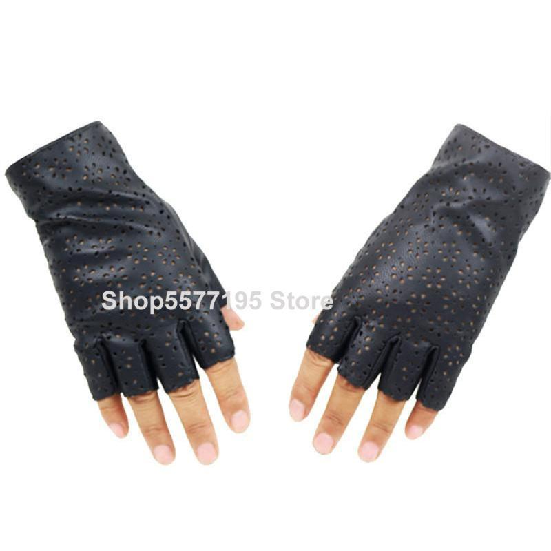 2020 New Ladies Fingerless Gloves Breathable Soft Leather Gloves for Dance Party Show Women Black Half Finger Mittens R223