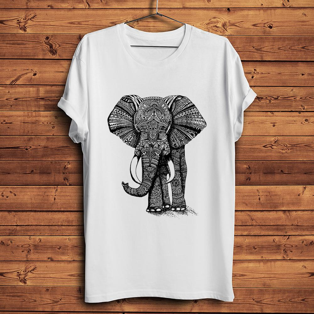 Bohemia style Elephant design funny t shirt men summer new white casual tshirt homme vintage streetwear short t-shirt unisex