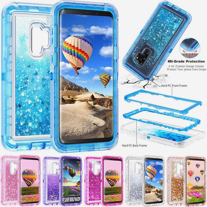 Samsung S20 S10 S9 Artı Not 20 iPhone 11 XR 7/8 Artı Lüks Blingbling Ağır Hizmet Crashproof Sıvı Defender Kılıf Ücretsiz Nakliye