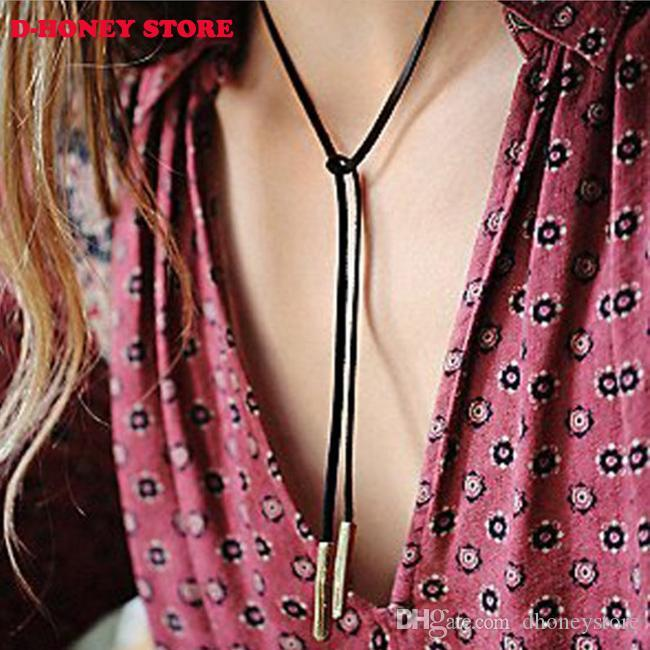 Cuero Negro Gargantilla cgjxs largo Jewlery de cuero collar accesorios Mujeres Venta Gargantilla collar collares de moda para las mujeres 2016 Nuevo