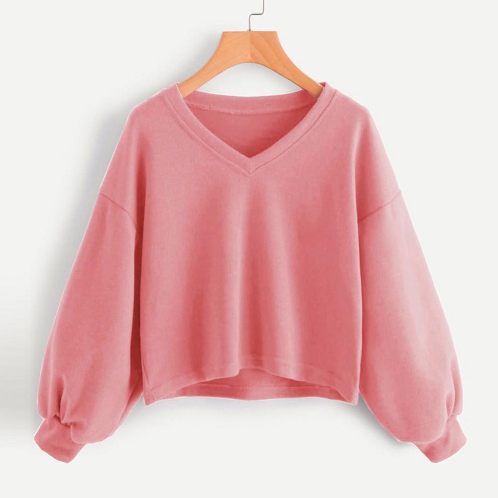 Herbst-Winter verdicken Frauen Sweatshirt Laterne Tüllenseite Split weiblich Pullover beiläufige lose Hoodies Pullover Short Hoodies 0916