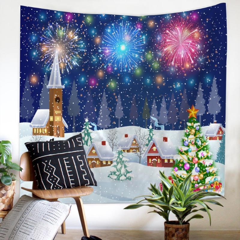 fogos de artifício Dream Castle tapeçaria de parede decoração de suspensão mais vendido azul confortável A neve cai em tapeçaria de Natal
