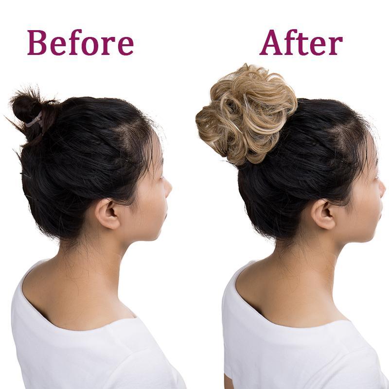BENEHAIR Messy Bun Scrunchy Moño falso pelo sintético mujeres de la venda del pelo del moño elástico Postizos Para WomenUpdo dona moño