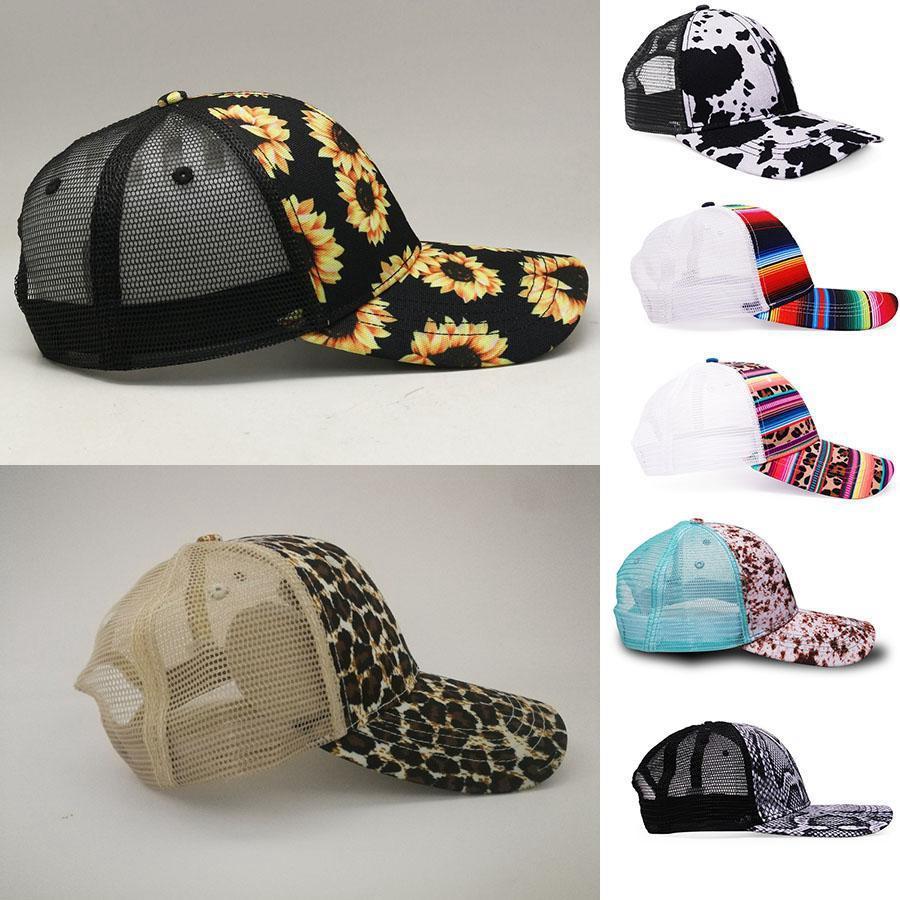 Girasol de la manera Caps 7 estilos Vaca leopardo del arco iris impresión del sombrero de béisbol de las mujeres de los hombres de malla Serape visera del sombrero DDA517