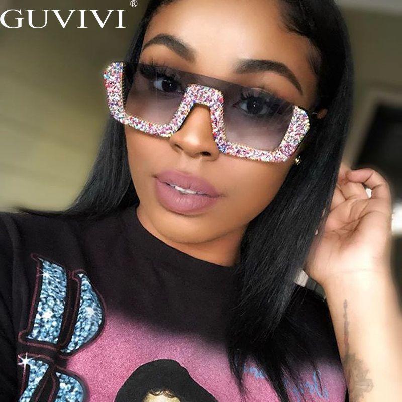occhiali da sole di pendenza imitazione di vetro delle donne semi-border diamante quadrato Retro, occhiali da sole d'epoca di grandi dimensioni per le donne UV400