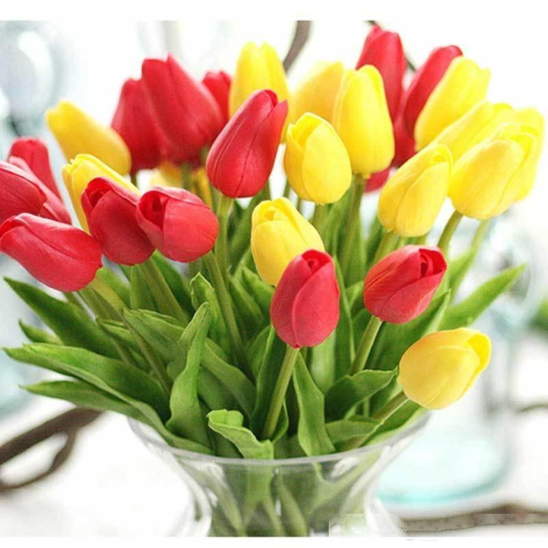 11pcs artificial flores de los tulipanes para la decoración de la boda del tulipán Inicio falso tacto verdadero ramo de flores T200103