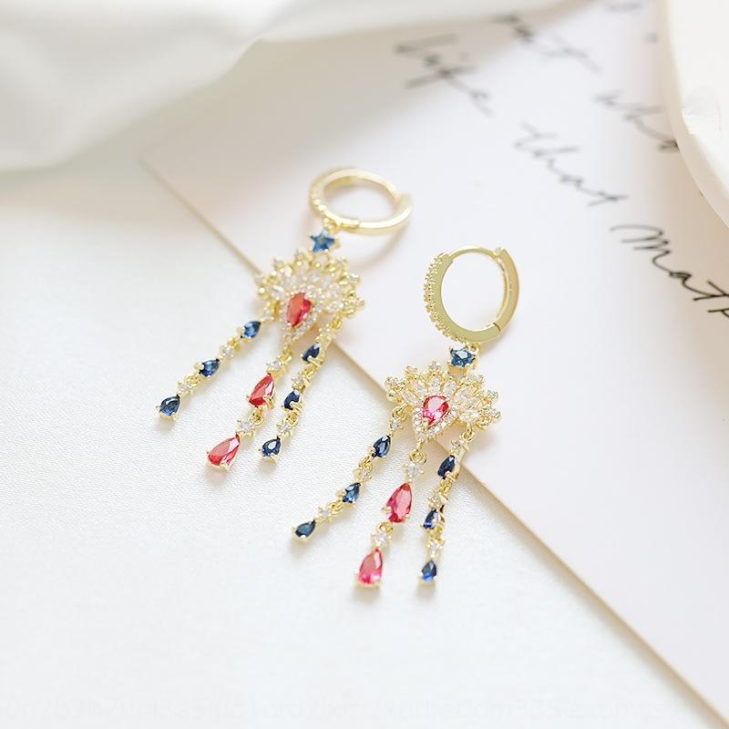 TSEGY Feng Liu Su colorato zircone eleganti Internet Celebrity creativi orecchini personalizzati trucco del viso delle donne e orecchini