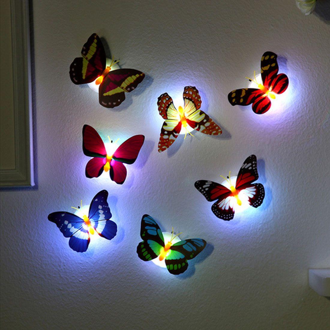 LED Işık Gece Atmosfer Lambası Renkli Değişen Kelebek Ile Kapalı Işık Emme Pad Ile Ev Parti Masası Duvar Dekor