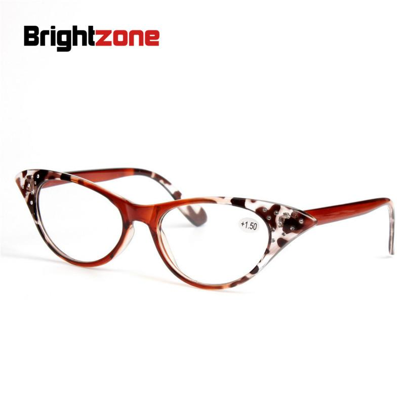 Brightzone New Fashion Reading Glasses Cateye Shape With Acrylic Diamonds Decoration Hyperiopia Trendy Eyeglasses For Old Women