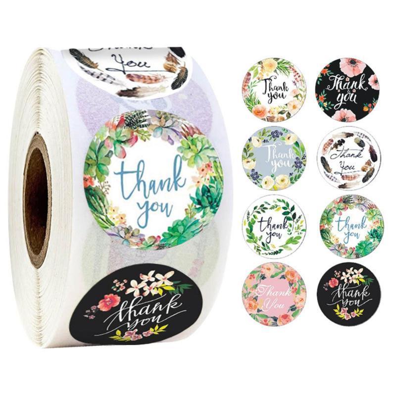500 Stück Runde Blumen danken Ihnen Aufkleber 1inch für Hochzeit Bevorzugungen und Partei Handgefertigte Sticker-Umschlag-Briefpapier Aufkleber